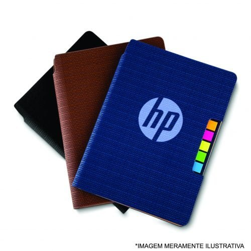 caderno com post it logo